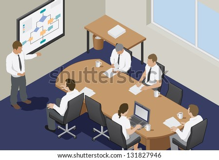Business Meeting In An Office. Isometric Vector Illustration Of A Business Presentation Meeting In An Office Around A Table.