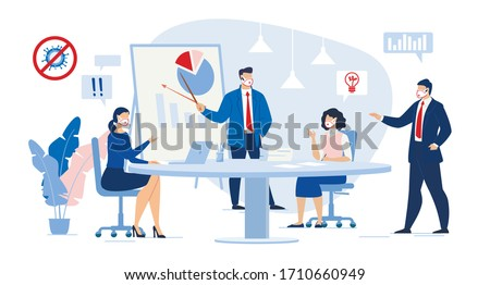 Business Meeting in Conference Room. Workflow Coworking Process. Businesspeople Team Discussion Stock Market, Financial Report Corporate Condition, Data Analysis Result. Woman Give Creative Solution Photo stock ©