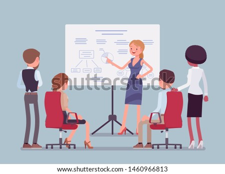 Business meeting in office. Gathering of managers to think of marketing ideas, goals, company partners getting financial report, mutual discussion and training. Vector flat style cartoon illustration