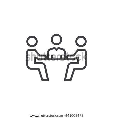 Business meeting line icon, outline vector sign, linear style pictogram isolated on white. Symbol, logo illustration. Editable stroke. Pixel perfect