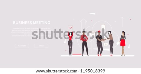 Business meeting - modern flat design style colorful banner on gray background with copy space for text. A composition with employees, colleagues, team working in a cloud, sharing ideas, brainstorming