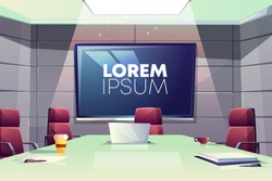 Business meeting or conference room interior cartoon vector illustration with comfortable armchairs, laptop on table and large screen for presentations on wall. Company boardroom negotiation concept