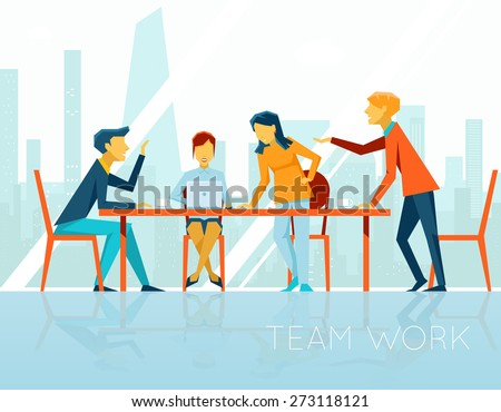 Business meeting. People talking and working in office. Coffee break, businesswoman and businessman, vector illustration