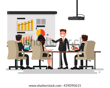 Business meeting. Presentation of the project. Man speaks before his colleagues. Vector illustration of a flat design