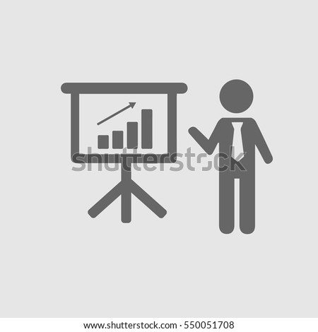 Business meeting simple isolated vector icon eps 10. Businessman with tie and chart graph board.