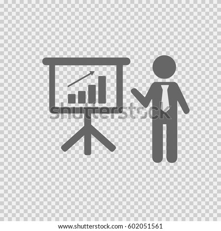 Business meeting simple isolated vector icon eps 10. Businessman with tie and chart graph board on transparent background.