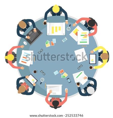 Business meeting, teamwork, brainstorming in flat style. Flat design vector illustration.