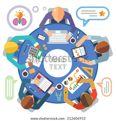 Business meeting. Vector flat illustration round tables and discussion: team, partners, employees, idea, plans, diagrams, drawings, calculator, laptop, tablet, coffee, office, business day, money