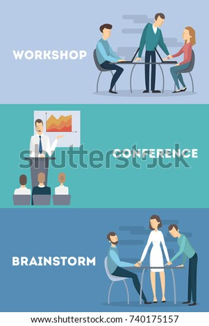 Business meetings set. Workshop and conference and brainstorming.