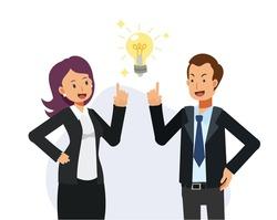 Business men and women got an ideas of work. Teamwork