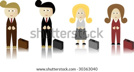 Business Men and Women with briefcase