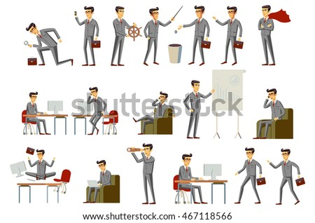 Business Men Group grey suit vector art