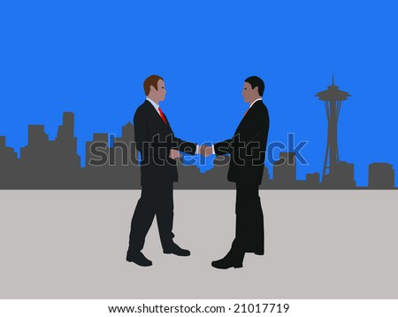 business men meeting with handshake and Seattle skyline