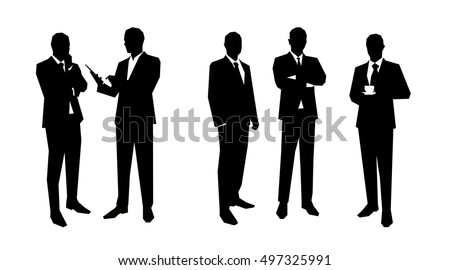 business men silhouettes set in