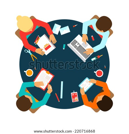 Business men team office meeting concept top view people on table vector illustration