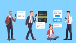 Business men, woman setting reminders, scheduling appointments, organizing day, week events using mobile phone planning app. Manager employee daily schedule flat vector character concept illustration