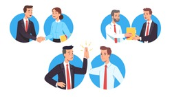 Business men, woman workers greeting each other making deal set. Partners people shaking hands, giving high five. Senior businessman handing documents to successor. Flat vector character illustration