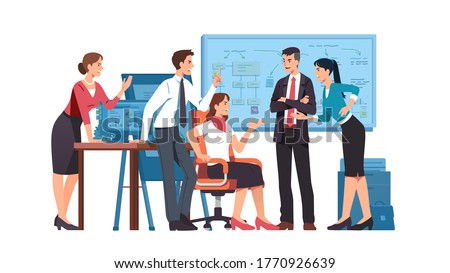 Business men, women colleagues team arguing having dispute in office. Angry people discussing business issues, shouting, gesturing. Disagreement, conflict & teamwork problem. Flat vector illustration