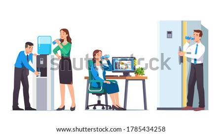 Business men & women drinking water in office set. Workers people relaxing, quenching thirst & hydrating at workplace, water cooler, fridge. Break, beverage & refreshment. Flat vector illustration