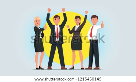 Business men & women managers team celebrating success achievement. People group standing together raising pumping clenched fists and showing thumbs up gestures. Flat vector character illustration