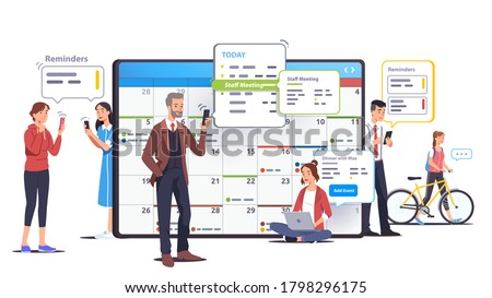 Business men, women scheduling appointments in calendar application. People check & set meeting, event reminders in planning app. Organizer app on big tablet screen. Flat vector concept illustration Сток-фото ©