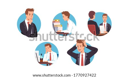 Business men workers succeeding or having problems at work in office set. People thinking, working on laptop computer, getting job, procrastinating & having stress. Career. Flat vector illustration