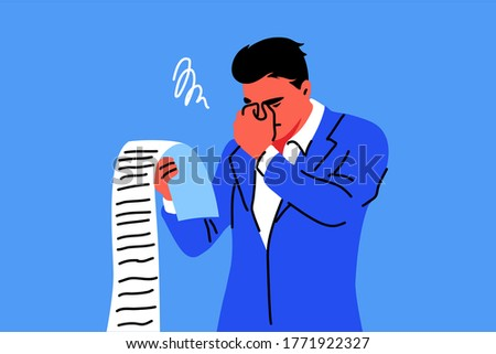 Business, mental stress, bankruptcy, debt concept. Young stressful sad businessman clerk manager holding long list of financial bills worried about money debts. Financial crisis and credit payment.