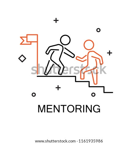Business mentor help team partner. Creative Idea Concept of Mentor and Coaching. Moden Flat thin line icon designed vector illustration.Editable Stroke.