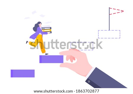 Business mentor helps to improve career and holding stairs stepr vector illustration. Mentorship, upskills and self development strategy flat style design business concept.