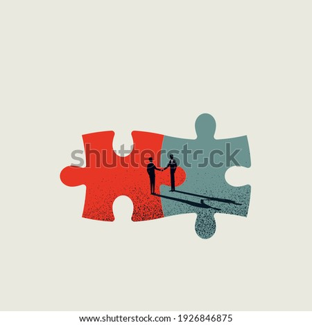 Business merger and acquisition vector concept with businessmen shaking hands, end of negotiation, success. Eps10 illustration.
