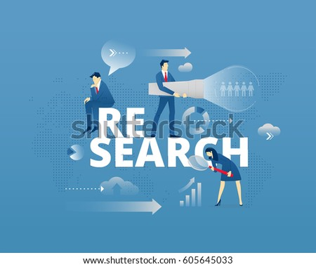 Business metaphor of market research. Businessman and businesswoman faceless characters in action around word RESEARCH over digital world map. Vector illustration