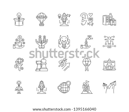 Business metaphors line icons, signs, vector set, outline illustration concept