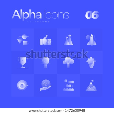 Business metaphors spot illustrations for branding, web design, presentation, logo, banners. Clean gradient icons set with thin lines and flat shapes. Pure transparency effect on blue color background