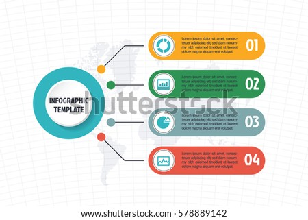business minimal infographic template, 4 options infographic layout, vector design element with icons
