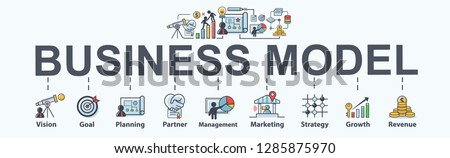 Business Model banner web icon for business and marketing, vision, goal, Strategy, planning, partner, strategy, management and revenue. Minimal vector infographic.