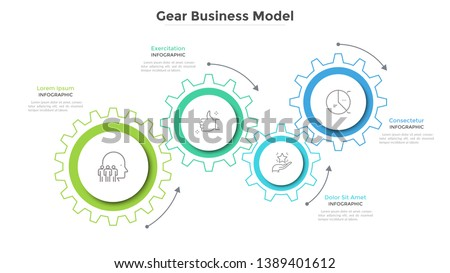 Business model with 4 paper white gear wheels. Concept of coordinated work, mechanical process, functioning mechanism. Modern infographic design template. Simple vector illustration for presentation.