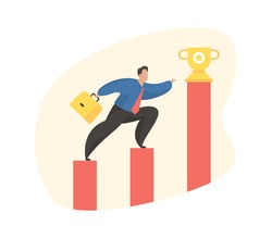 Business motivation concept. Businessman with a briefcase climbs up while standing on the columns of the graph to golden trophy. Vector illustration