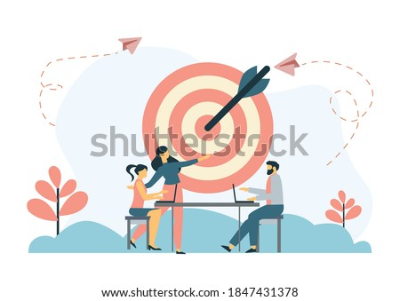 Business motivation. Finance target. Solution searching. Goals and objectives, business grow, business plan, goal setting concept. Vector isolated concept creative illustration