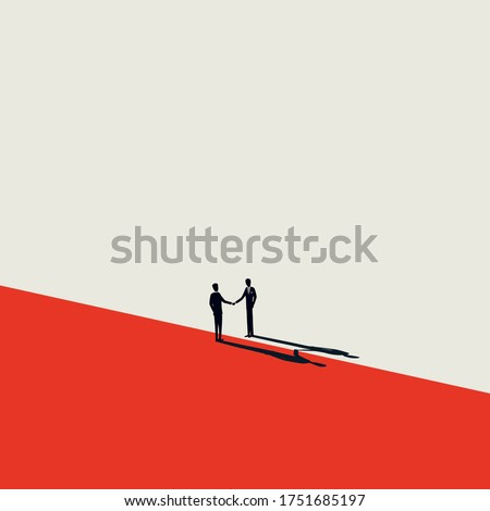 Business negotiation, deal making or acquisition, merger vector concept. Two men shaking hands. Minimal design. Eps10 illustration.