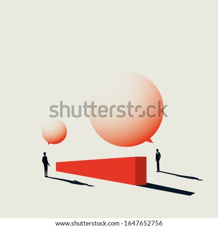 Business negotiation vector concept in minimal art style. Businessman discussion over wall with speech bubbles. Symbol of communication, corporate strategy. Eps10 illustration. Foto stock ©