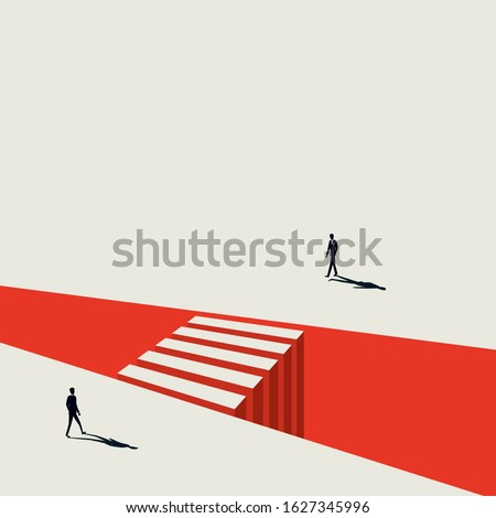 Business negotiation vector concept with businessman approaching each other. Symbol of discussion, meeting, crossing gaps, building bridges. Eps10 illustration. Stock photo ©