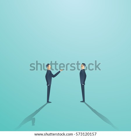 Business negotiation vector concept with two businessmen having conversation or argument. Eps10 vector illustration.