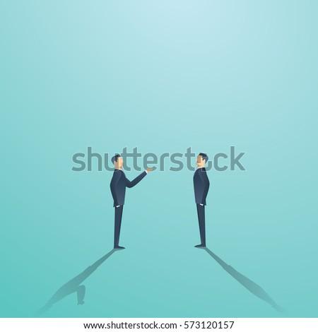 Business negotiation vector concept with two businessmen having conversation or argument. Eps10 vector illustration.
