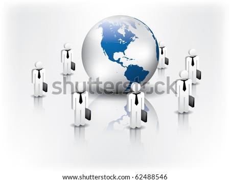Business network around the globe - stock vector