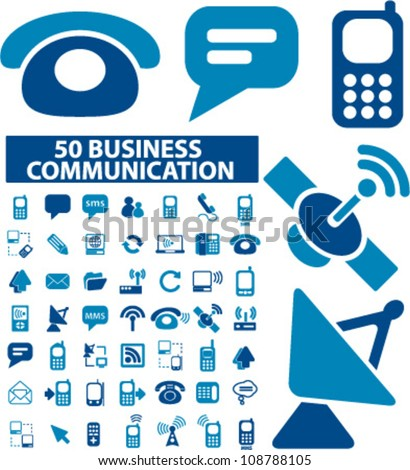 business network & communication icons set, vector