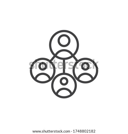 Business network line icon. linear style sign for mobile concept and web design. Business people connecting outline vector icon. Symbol, logo illustration. Vector graphics Photo stock ©