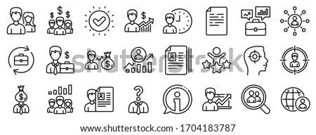 Business networking contract, Job Interview and Head Hunting contract icons. Human Resources, head hunting line icons. CV, Teamwork and Portfolio symbols. Business career, human, interview. Vector