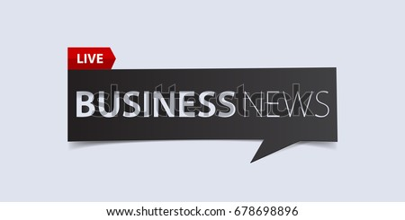 Business news header isolated on white background. Breaking news Banner design template. Vector illustration.