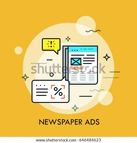 Business newspaper with advertisements and speech bubbles. Announcement in periodical, marketing method concept. Vector illustration for brochure, presentation, website, poster, print, banner.