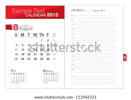 Business notebook with calendar for August 2013